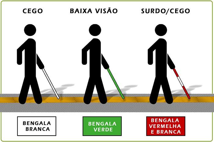 Imagem com três exemplos mostrando os tipos de bengala.